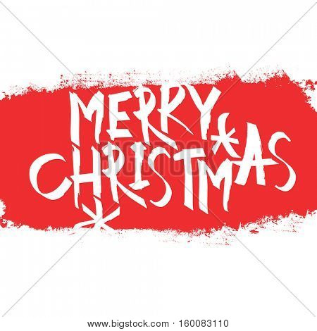 Merry Christmas Postcard. With red erased area. Greeting calligraphy. Christmas concept  illustration