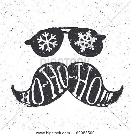 Santa vintage sunglasses and moustache. With snowflake reflection. On textured grunge white background. Ho-ho-ho! lettering. Christmas fun concept.