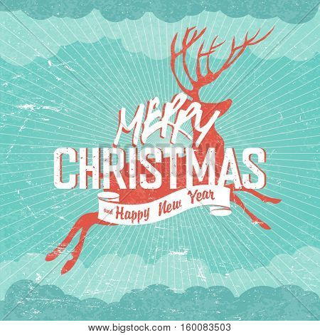 Merry Christmas Vintage Illustration. Deer silhouette and