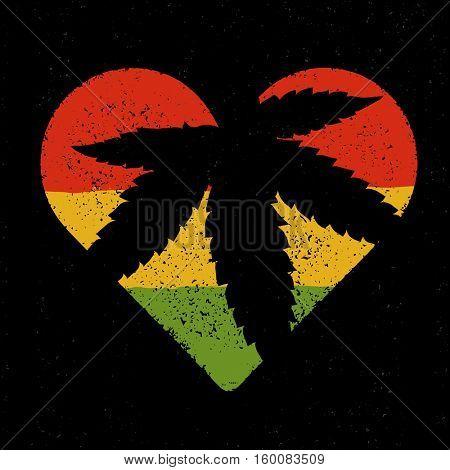 Marijuana silhouette in heart shape. marijuana leaf and rastafarian flag grunge background