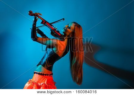 Young Female Violinist Playing Violin