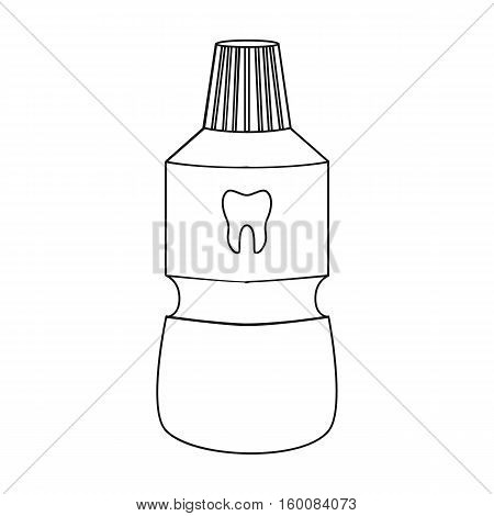 Bottle of mouthwash icon in outline style isolated on white background. Dental care symbol vector illustration.