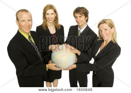 Business People Hold A Globe Together