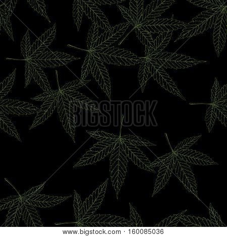 Marijuana leaves seamless pattern. Green outline contour on black