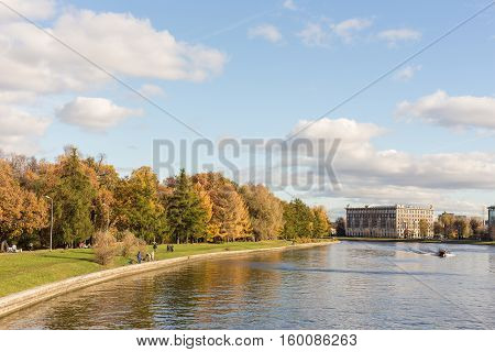 Saint-Petersburg Russia - October 16 2013: Central Park on a sunny autumn day