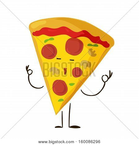 Funny fast food pizza slice icon. Vector illustration for restaurant pizzeria menu design. Italian cheese cartoon comic character. Delivery toppings isolated on white background.