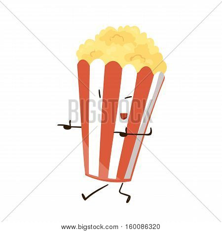 Funny fast food popcorn icon. Vector illustration for movie cinema menu design. Pop corn bag box cartoon comic character. Striped bucket isolated on white background.