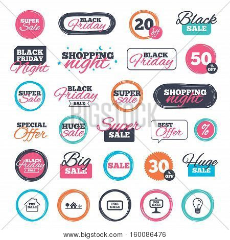 Sale shopping stickers and banners. For sale icons. Real estate selling signs. Home house symbol. Website badges. Black friday. Vector