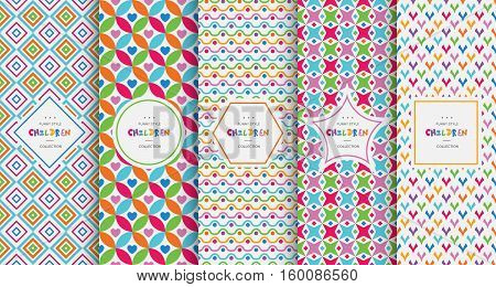 Bright colorful seamless patterns baby style. Vector illustration children background. Funny crazy kids paint. Happy geometry shapes. Set of ornament for gretting card, invitation.
