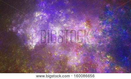 Perfect starry sky. Bright fog galaxy. 3D surreal illustration. Sacred geometry. Mysterious psychedelic relaxation pattern. Fractal abstract texture. Digital artwork graphic astrology magic