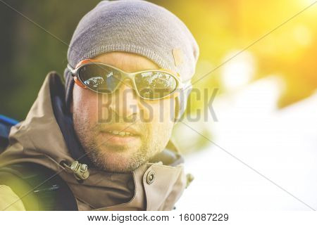 Portrait Of Climber In The Glasses.