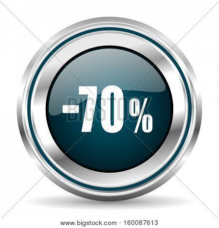 70 percent sale vector icon. Chrome border round web button. Silver metallic pushbutton.