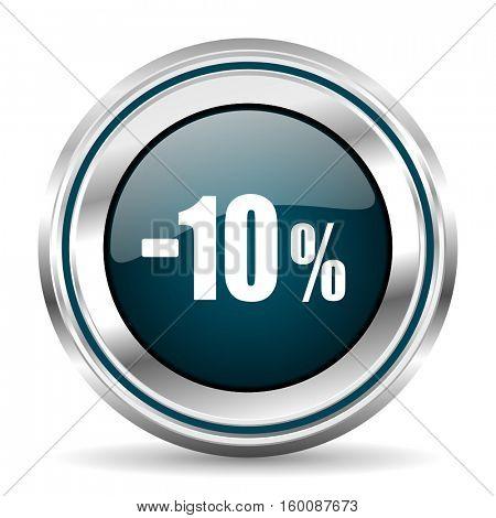 10 percent sale vector icon. Chrome border round web button. Silver metallic pushbutton.