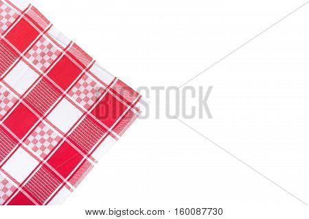 Red tablecloth on white background, checkered tablecloth on white background isolated. Top view mockup