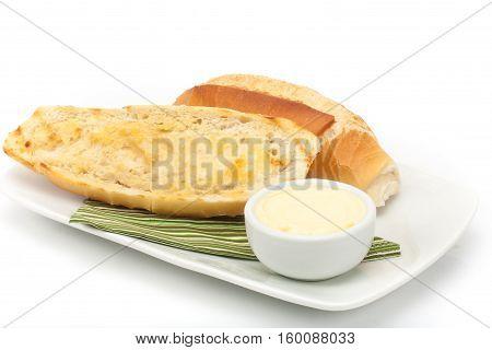 Pao na chapa. Toast with butter on white background. Pao na chapa