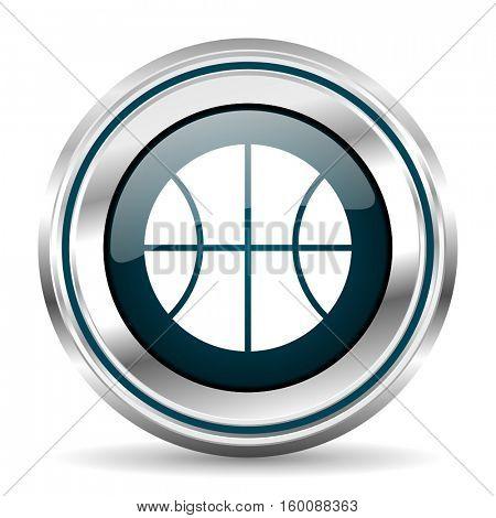 Basketball vector icon. Chrome border round web button. Silver metallic pushbutton.