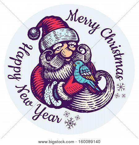 Vintage vector Christmas sticker of Santa Claus with bird.