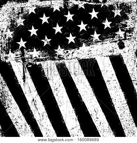 American Flag Background. Grunge Aged Template. Monochrome gamut. Black and white. Grunge layers can be easy editable or removed.