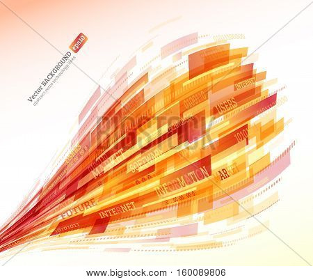 Abstract retro technology lines. Information transfer. Stream of information. Data transfer. Stock vector. eps 10