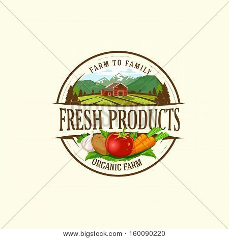 Organic & farm-vector labels and elements.Vector illustration of organic product for logo, banners and printed material.