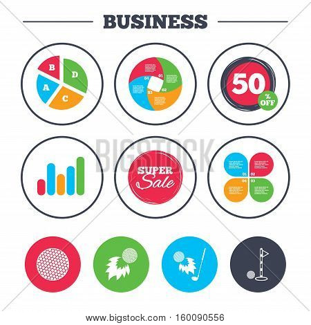 Business pie chart. Growth graph. Golf ball icons. Fireball with club sign. Luxury sport symbol. Super sale and discount buttons. Vector