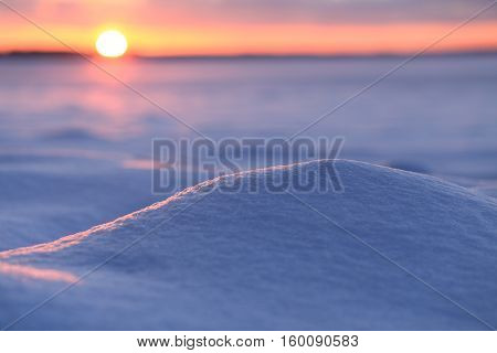 Christamas Background With Snowdrift. Morning Sun Illuminate Snowdrift.