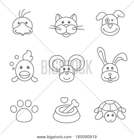 Pets related icon set in thin line style. Mouse and fish, food for pet, kennel and bone, parrot and dog outline illustration