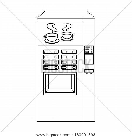 Office coffee vending machine icon in outline style isolated on white background. Office furniture and interior symbol vector illustration.