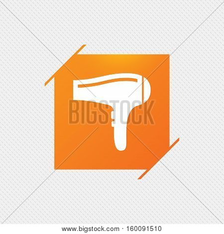 Hairdryer sign icon. Hair drying symbol. Orange square label on pattern. Vector