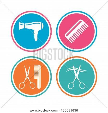 Hairdresser icons. Scissors cut hair symbol. Comb hair with hairdryer sign. Colored circle buttons. Vector