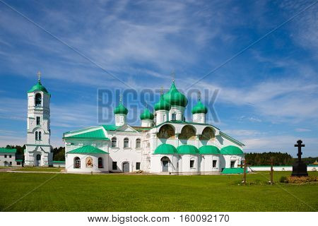 Transfiguration complex Holy Trinity Alexander Svirsky Monastery in Karelia, north of Russia.