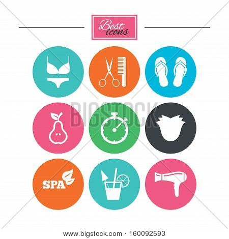 Hairdresser, spa icons. Diet cocktail sign. Lingerie, scissors and hairdryer symbols. Colorful flat buttons with icons. Vector