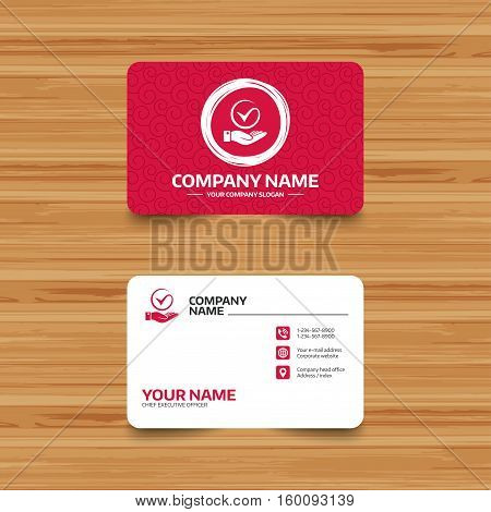 Business card template with texture. Tick and hand sign icon. Palm holds check mark symbol. Phone, web and location icons. Visiting card  Vector