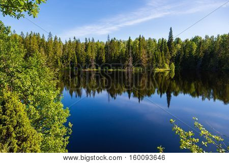 Beautiful Lake nature reserve on the island of Valaam. Karelia, north of Russia.
