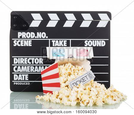 Movie clapper, popcorn and a striped box, a ticket to the movies, 3d glasses isolated on white background