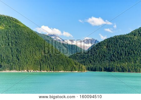 Alaska Landscape With Green Forest, River Moutains With The Snow