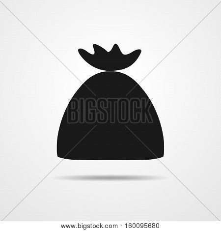 Money bag icon. Black money bag in flat design on light gray background. Vector illustration.