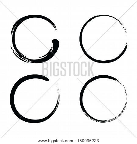 Enso Zen Brush Stroke Black Ink Vector Set