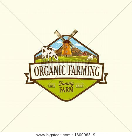 Organic & farm-vector labels and elements. Vector illustration