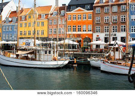 Copenhagen, aug 21. 2016 - colored facades on Nyhavn buidlings in Copenhagen - Denmark.