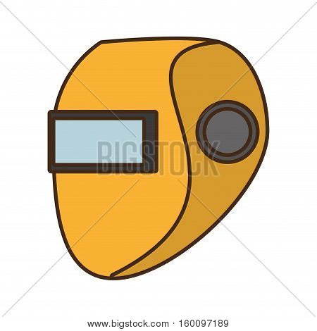 cartoon yellow welder mask eyes security sign design vector illustration eps 10