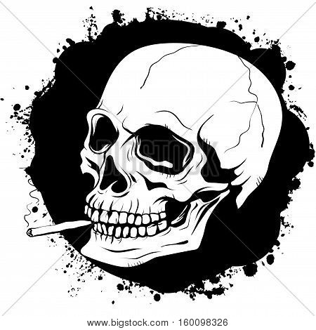 poster with a graphic pattern of human skull with a cigarette on a black background with a torn texture stained by ink