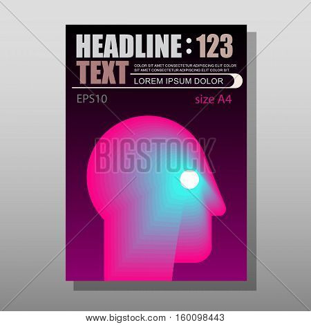 Abstract human head vector design layout template with place for text. Mock-up proportional size A4 front page.