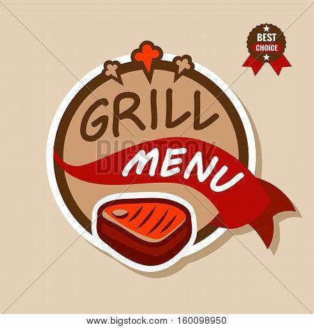 Badge, label, logo, icon design templat of grill menu