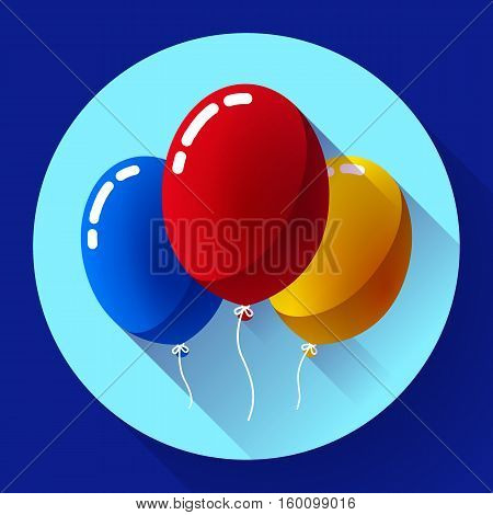 Festive multicolored air balloons icon holiday symbol, birthday party icon