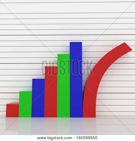 A 3D rendered graph with red, green and blue bars with the last bar tilting  or toppling over.