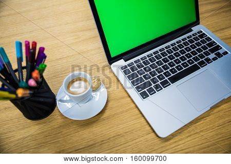 Laptop Computer On Working Place Desk