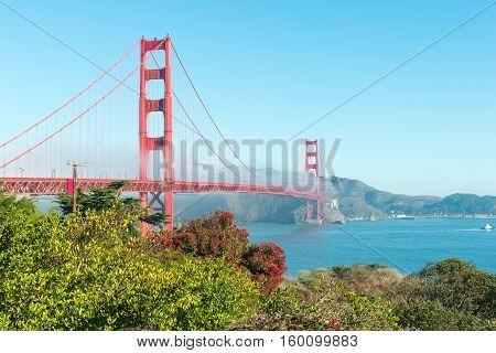 Coast of California San Francisco. Panorama of Golden Gate Bridge. Toning