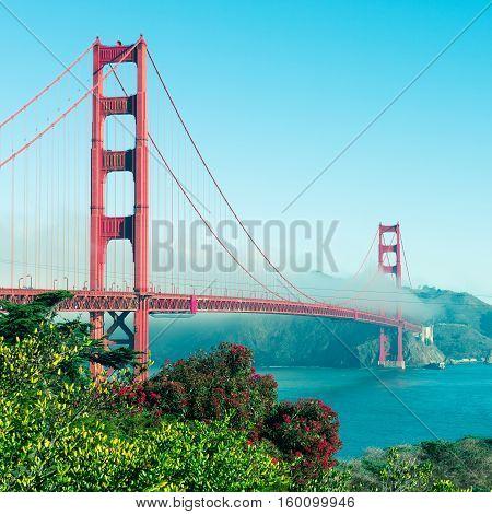 Coast of California San Francisco. Panorama of Golden Gate Bridge.