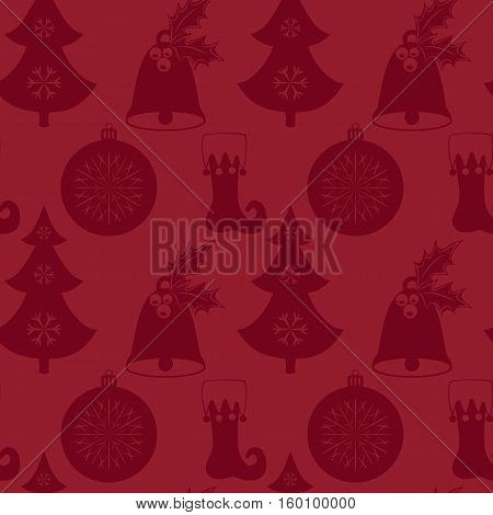 Seamless pattern with Christmas tree, bell, stocking and ball. Flat elements on a red background. Vector illustration. It can be used for design of packing, scrapbook, web, wallpaper, textile, card